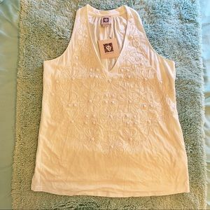 Anne Klein Beaded Floral V-Neck Tank Top NWT
